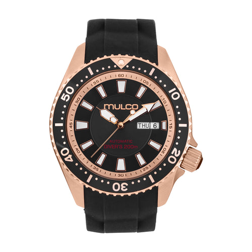 Men Watches | Black Silicone Band | Rose Gold accents | Water Resistant