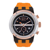Men Watches | Orange Silicone Rubber Band | Rose Gold accents | Water Resistant