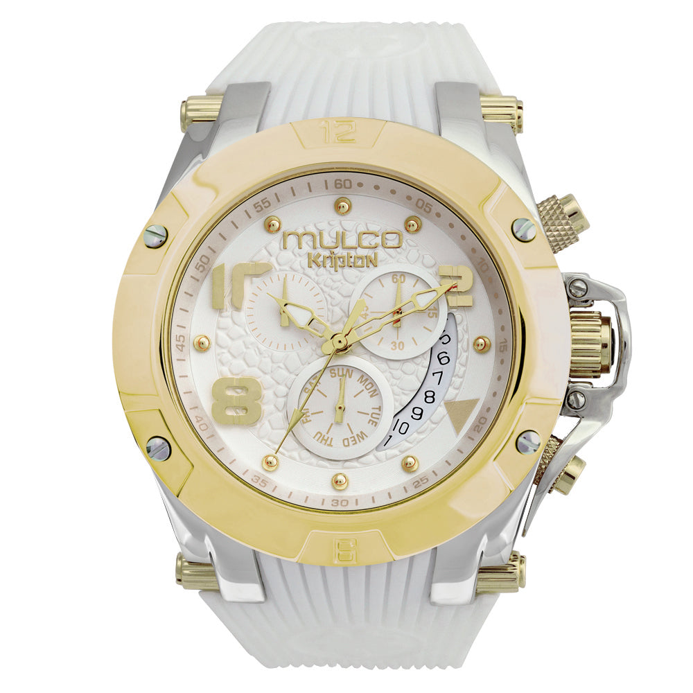 Women Watches | White Silicone Band | Gold accents | Water Resistant