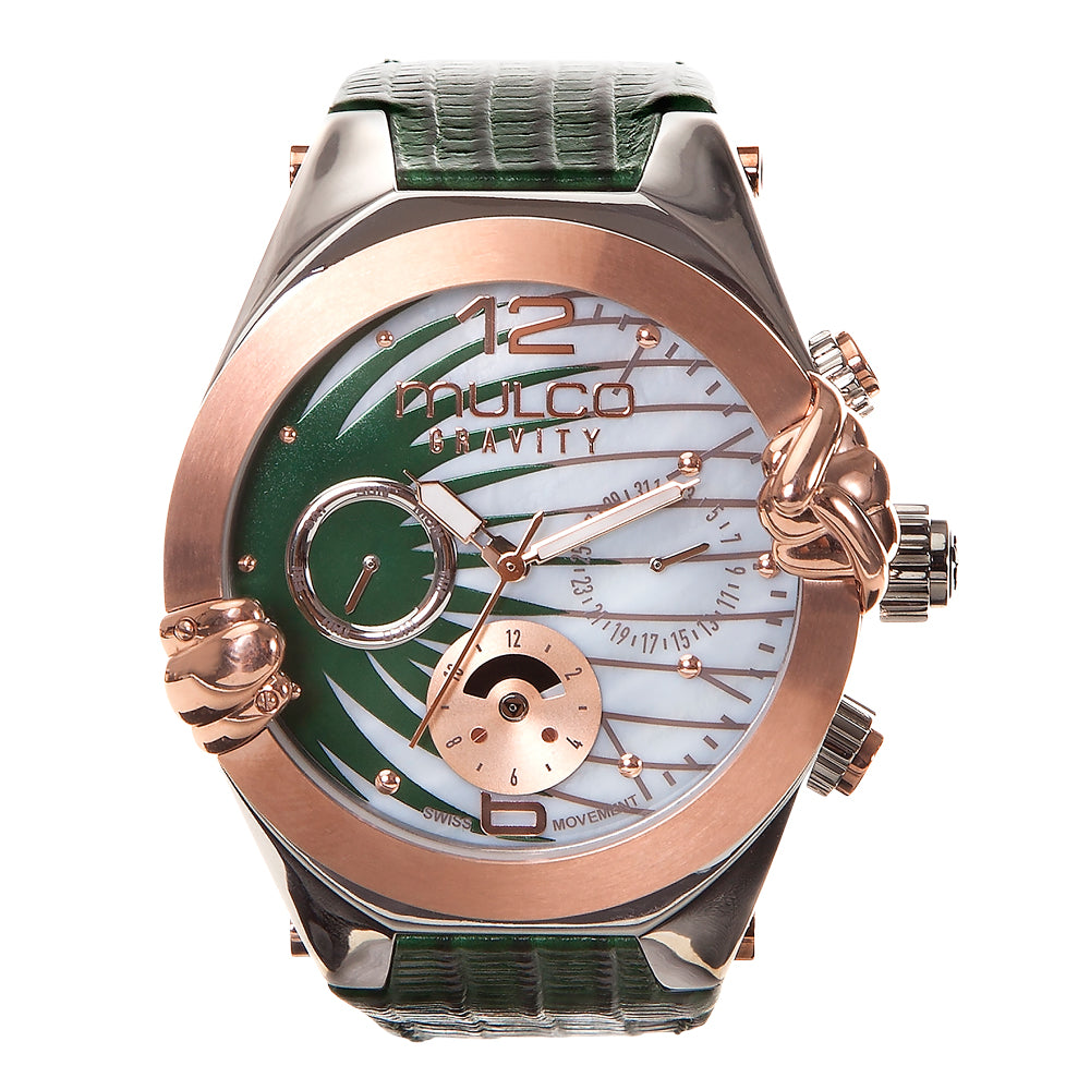 Ladies Watches | Green Leather Band | Rose Gold accents | Water Resistant