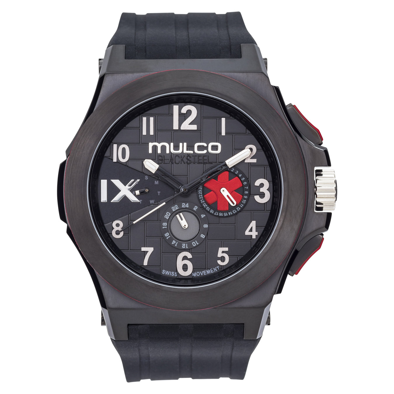 Men Watches | Black Silicone Rubber Band | Silver accents | Water Resistant