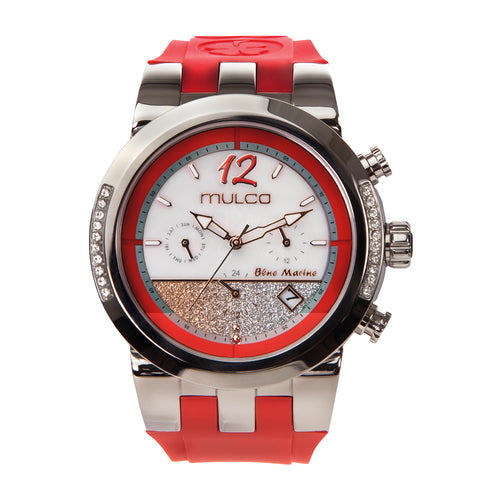 Ladies Watches| Red Silicone Rubber Band| Rose Gold accents| Oversized watches