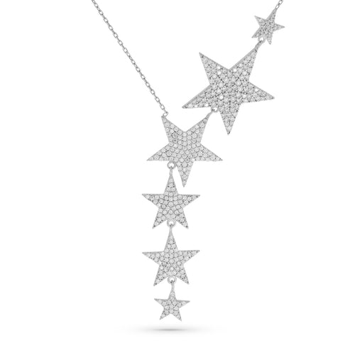 Mulco Bijoux | Asymmetrical Star Long Necklace |  Sterling Silver