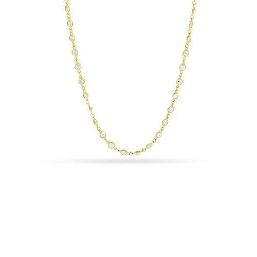 Mulco Bijoux | Mini Zirconia Chain Necklace | Yellow Gold Plated