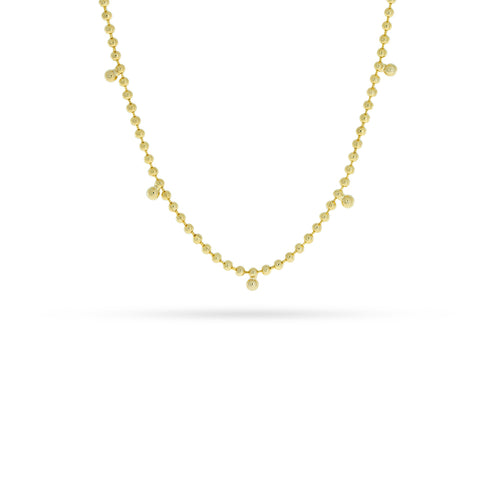 Mulco Bijoux | Beaded Mini Zirconia Chain Necklace | Yellow Gold Plated