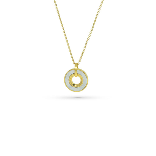 Mulco Bijoux | Enamel Coin Thin Chain Necklace | Yellow Gold Plated