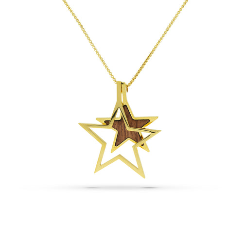 Mulco Bijoux | Double Star Wood Chain Necklace | Gold Plated