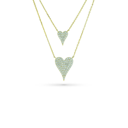 Mulco Bijoux | Double Heart Thin Chain Necklace | Cubic Zirconia