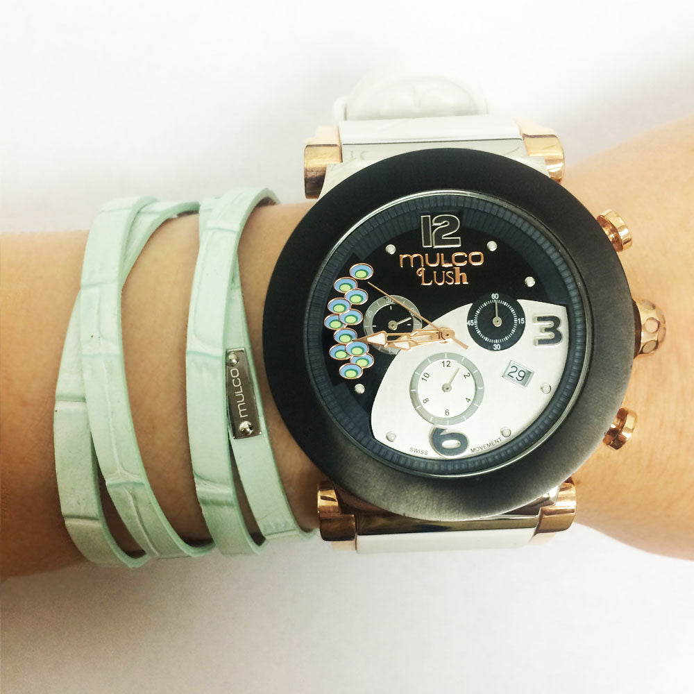 Leather Wrap Bracelet B - Light Blue-Accessories-Mulco-Watches