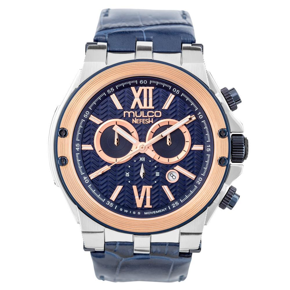 Ladies - Mens Watches | Blue Leather Band | Rose Gold accents | Water Resistant