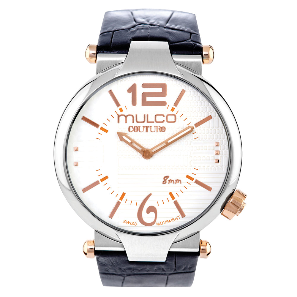 Mens Watches | Black Leather Band | Rose Gold accents | Water Resistant