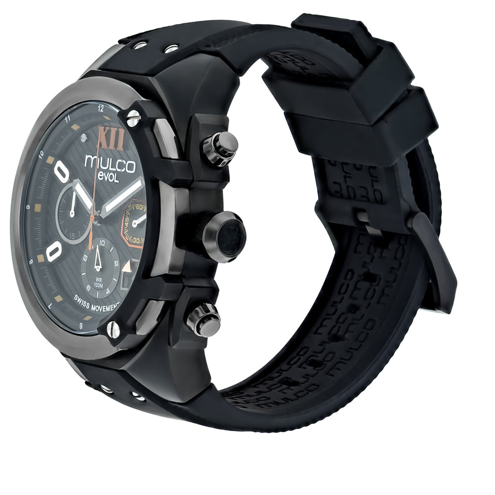Men Watches | Mulco Evol Lock | Pattern Texture | BlackAndOrangeReverse