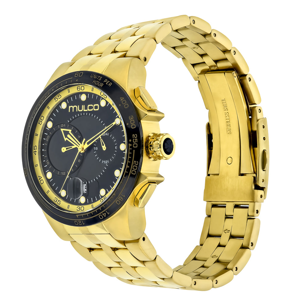 Men Watches | Stainless Steel Band | Gold accents | Water Resistant | GoldAndBlackReverse