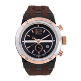 Men Watches | Brown Silicone Rubber Band | Rose Gold accents | Water Resistant