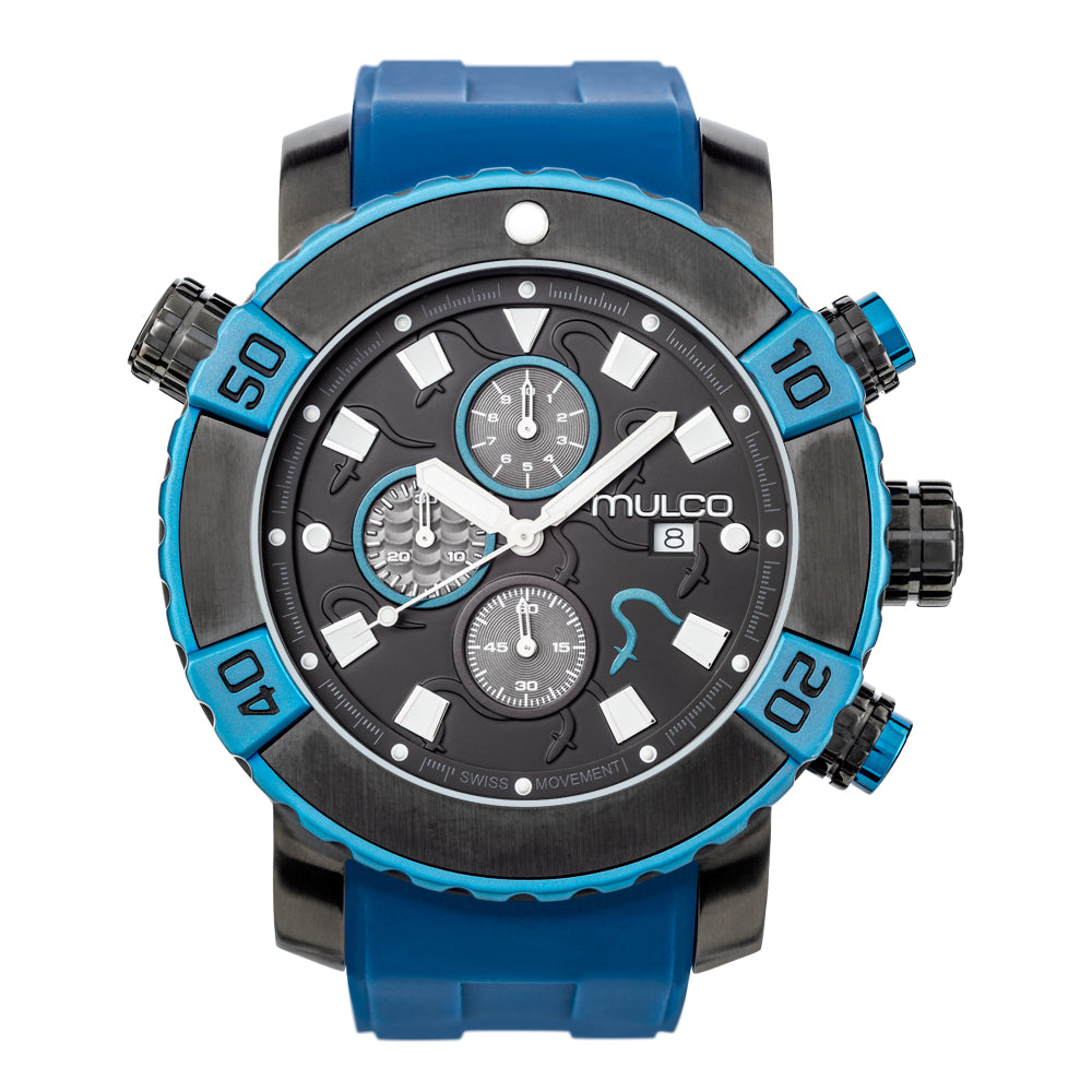 Men Watches | Blue Silicone Rubber Band | Steel accents | Water Resistant