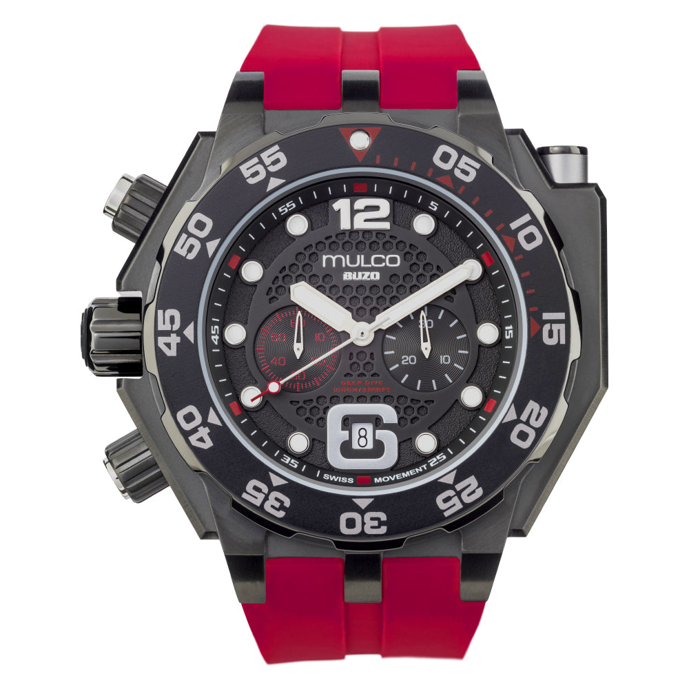 Men Watches | Red Silicone Rubber Band | Steel accents | Water Resistant