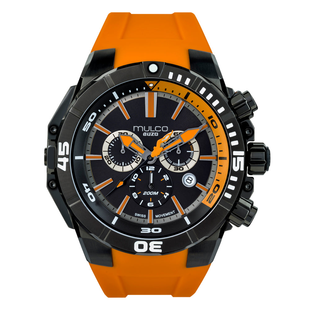 Men Watches | Orange Silicone Rubber Band | Steel accents | Water Resistant