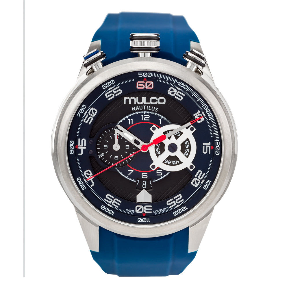 Men Watches | Blue Silicone Rubber Band | Silver accents | Water Resistant