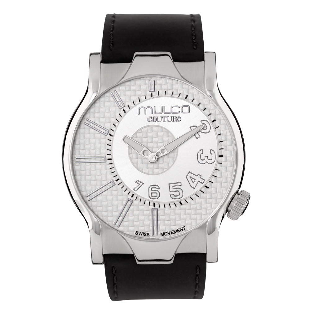 Men Watches | Black Leather Band | Silver accents | Water Resistant