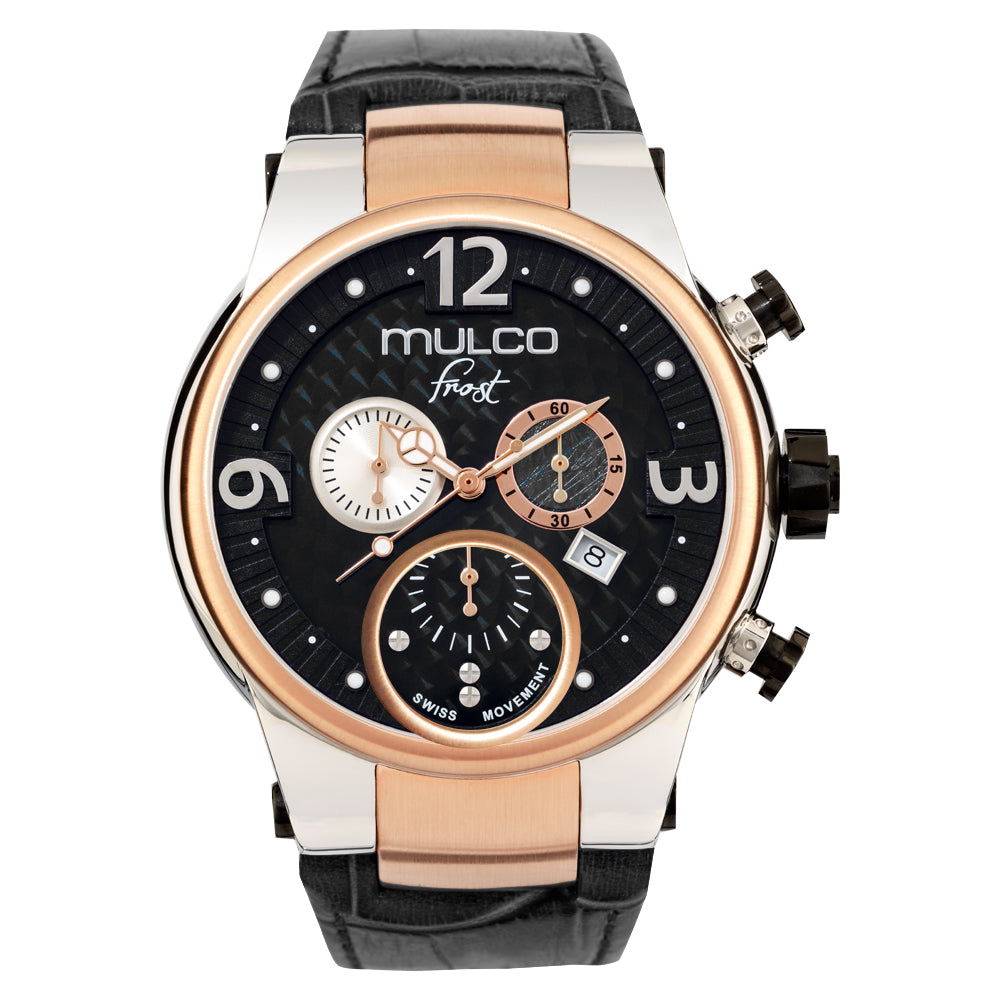 Men Watches | Black Leather Band | Rose Gold accents | Water Resistant