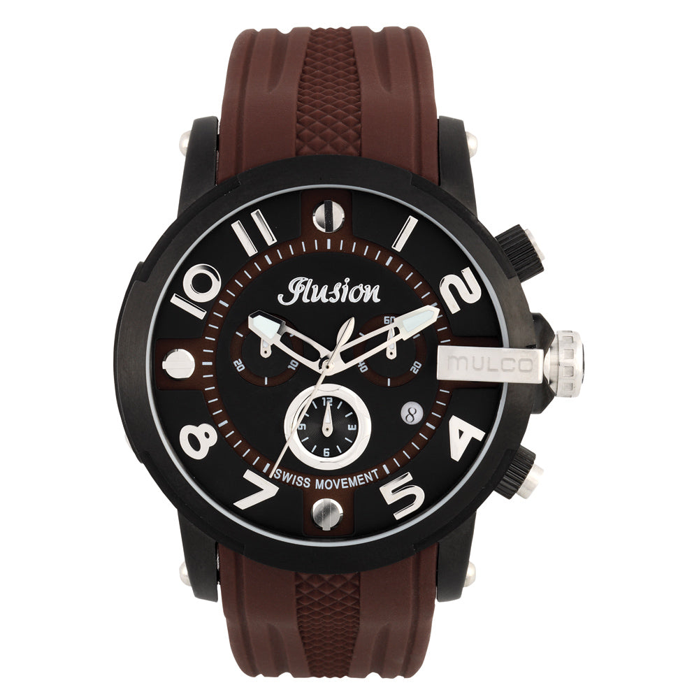 Men Watches | Brown Silicone Band | Silver accents | Water Resistant