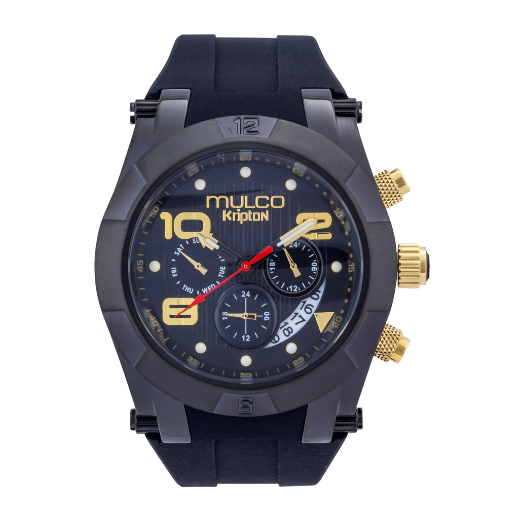 Men Watches | Black Silicone Band | Gold accents | Water Resistant
