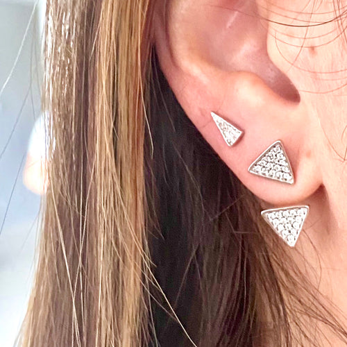 Mulco Bijoux | Triangles Set Sterling Silver Ear Jackets | Lifestyle