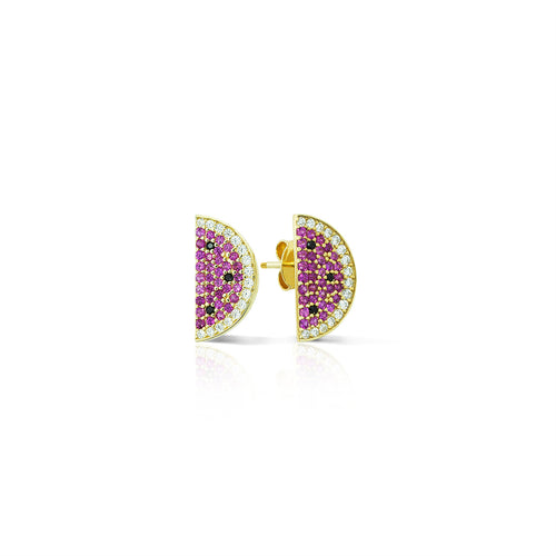 Mulco Bijoux | Watermelon Sterling | Gold Studs Earrings