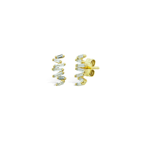 Mulco Bijoux | Abstract Sterling Gold Studs Earrings | Cubic Zirconia
