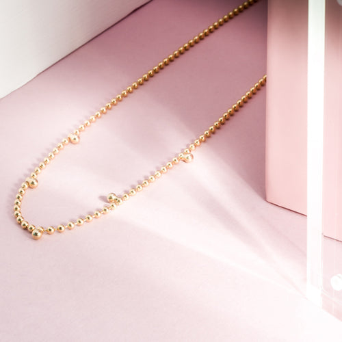 Mulco Bijoux | Beaded Mini Zirconia Chain Necklace | Lifestyle