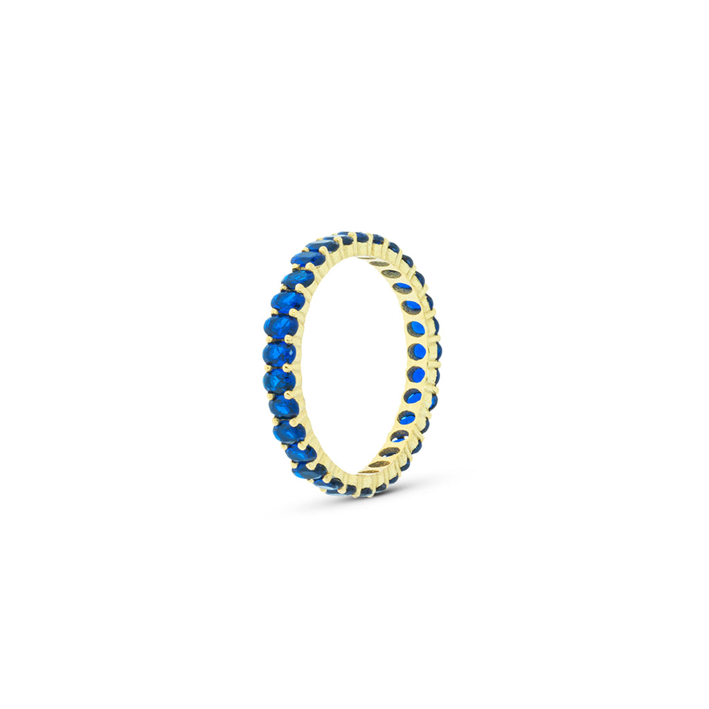 Mulco Bijoux | Eternity Band Stackable Ring | Blue Cubic Zirconia