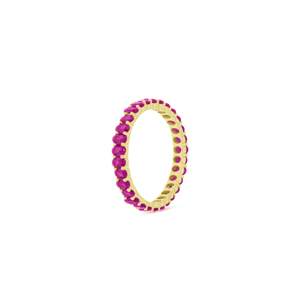 Mulco Bijoux | Eternity Band Stackable Ring | Pink Cubic Zirconia
