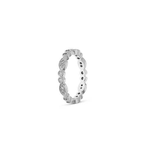 Mulco Bijoux | Mixed Zirconia Eternity Band Stackable Ring | Silver