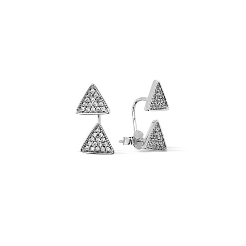 Mulco Bijoux | Triangles Set Sterling Silver Ear Jackets | Cubic Zirconia