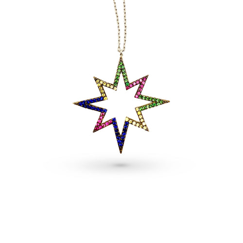 Multicolor Star Thin Chain Necklace