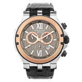 Ladies - Mens Watches | Black Leather Band | Rose Gold accents | Water Resistant