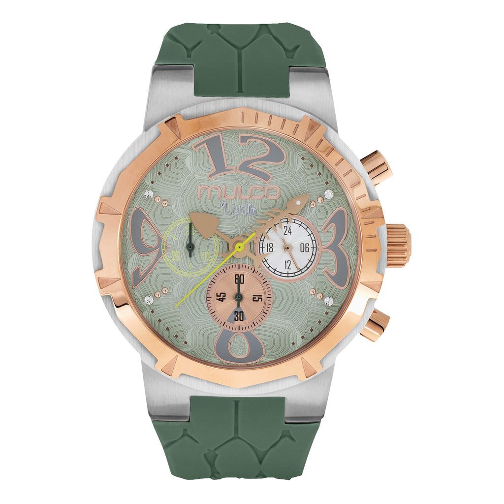 Ladies Watches | Military Green Silicone Band | Rose Gold accents | Water Resistant