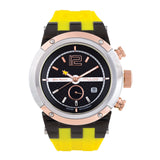 Men Watches | Yellow Silicone Rubber Band | Rose Gold accents | Water Resistant