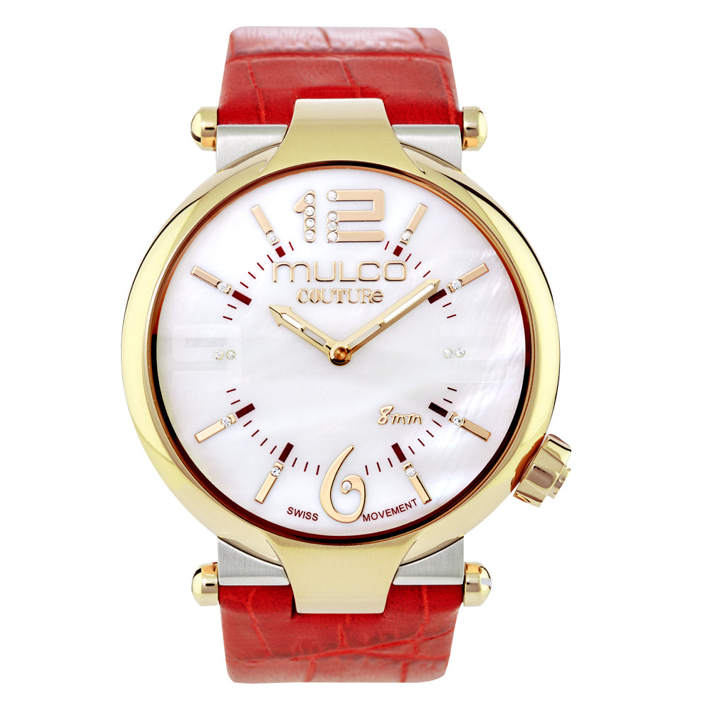Ladies Watches | Red Leather Band | Rose Gold accents | Water Resistant