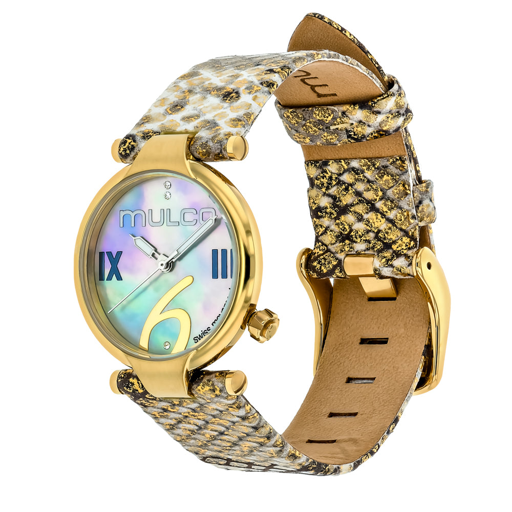 Ladies Watches | Mulco Mini Donna | Gold Phyton Leather Band