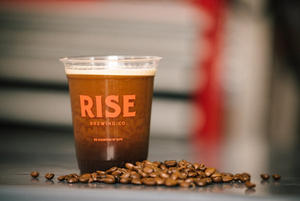 Organic, non-GMO RISE Brewing Co. nitro cold brew coffee and coffee beans