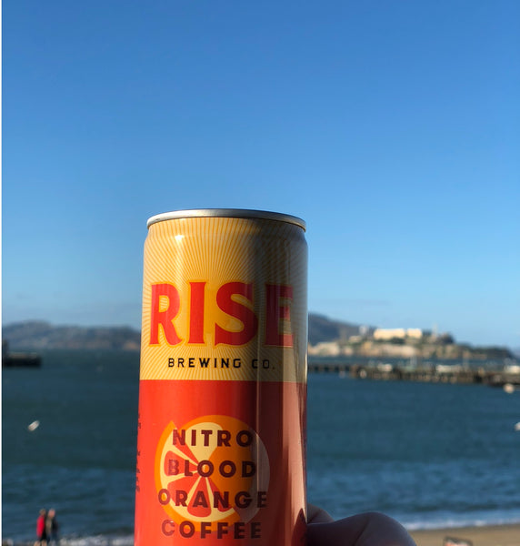 RISE Blood Orange Nitro Cold Brew Coffee in a can -- non-GMO, organic, non-dairy coffee