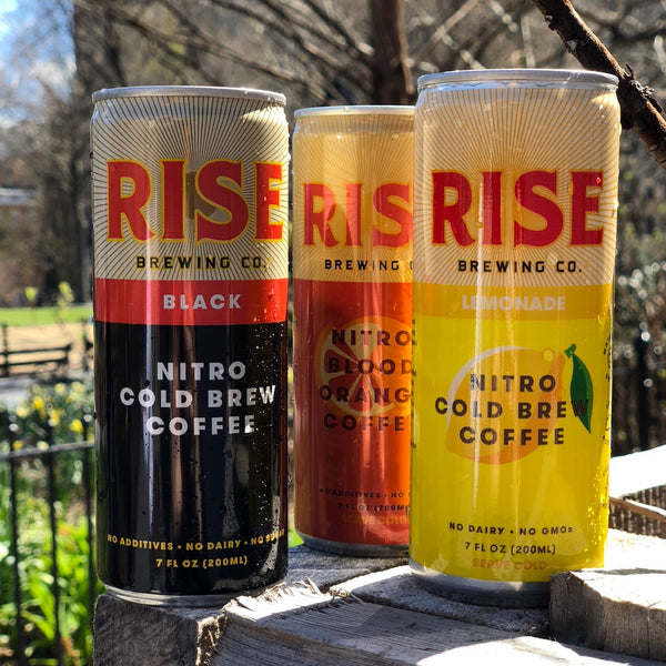 RISE nitro cold brew coffee -- organic, non-GMO, sustainably-sourced beverage in a can -- in 3 flavors: Original Black, Lemonade, and Blood Orange