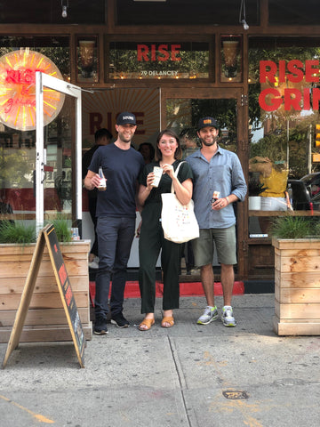 Justin Weinstein and friends at the RISE Nitro Brewing Co Cafe in Manhattan New York City