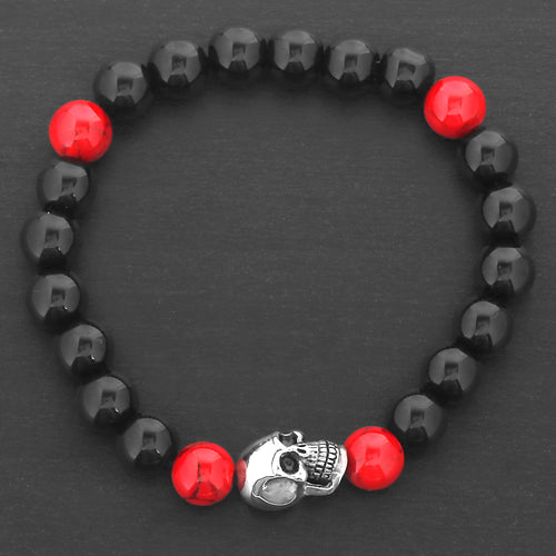 Skull Bracelet with Black Onyx and Red Natural Stones