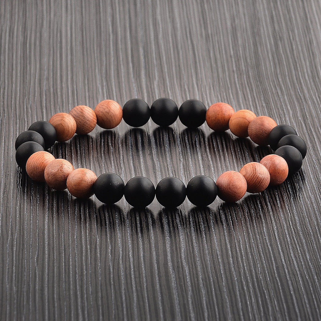 Black Onyx and Light Wood Bead Stretch Bracelet