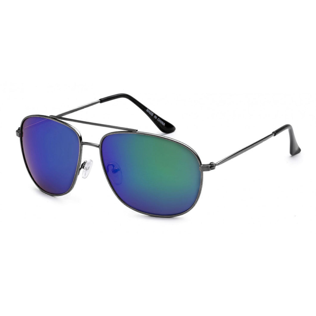 Aviator Sunglasses - Black Frames with Aqua Lens