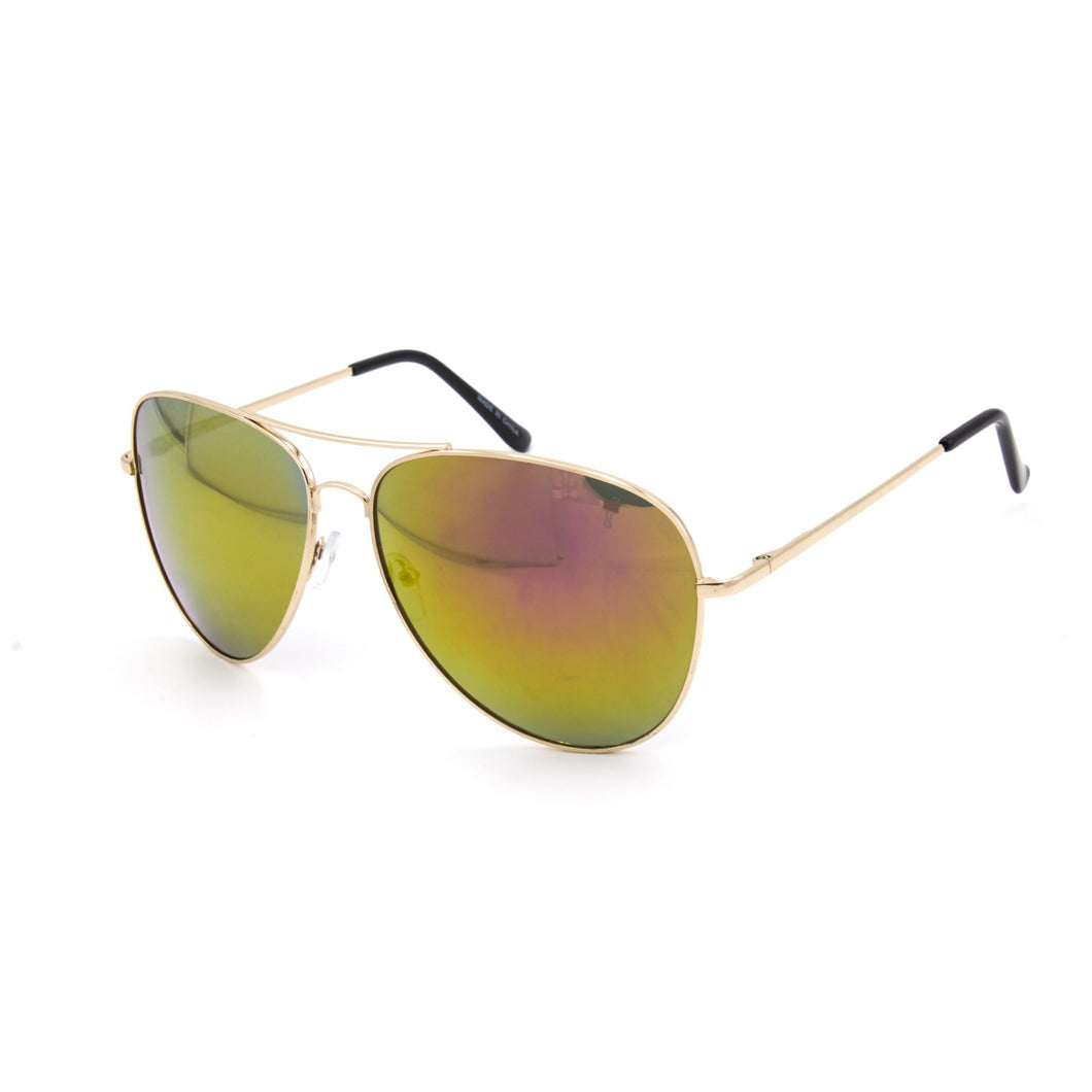 Oversize Aviator Sunglasses - Gold Frames Yellow Mirrored Lens