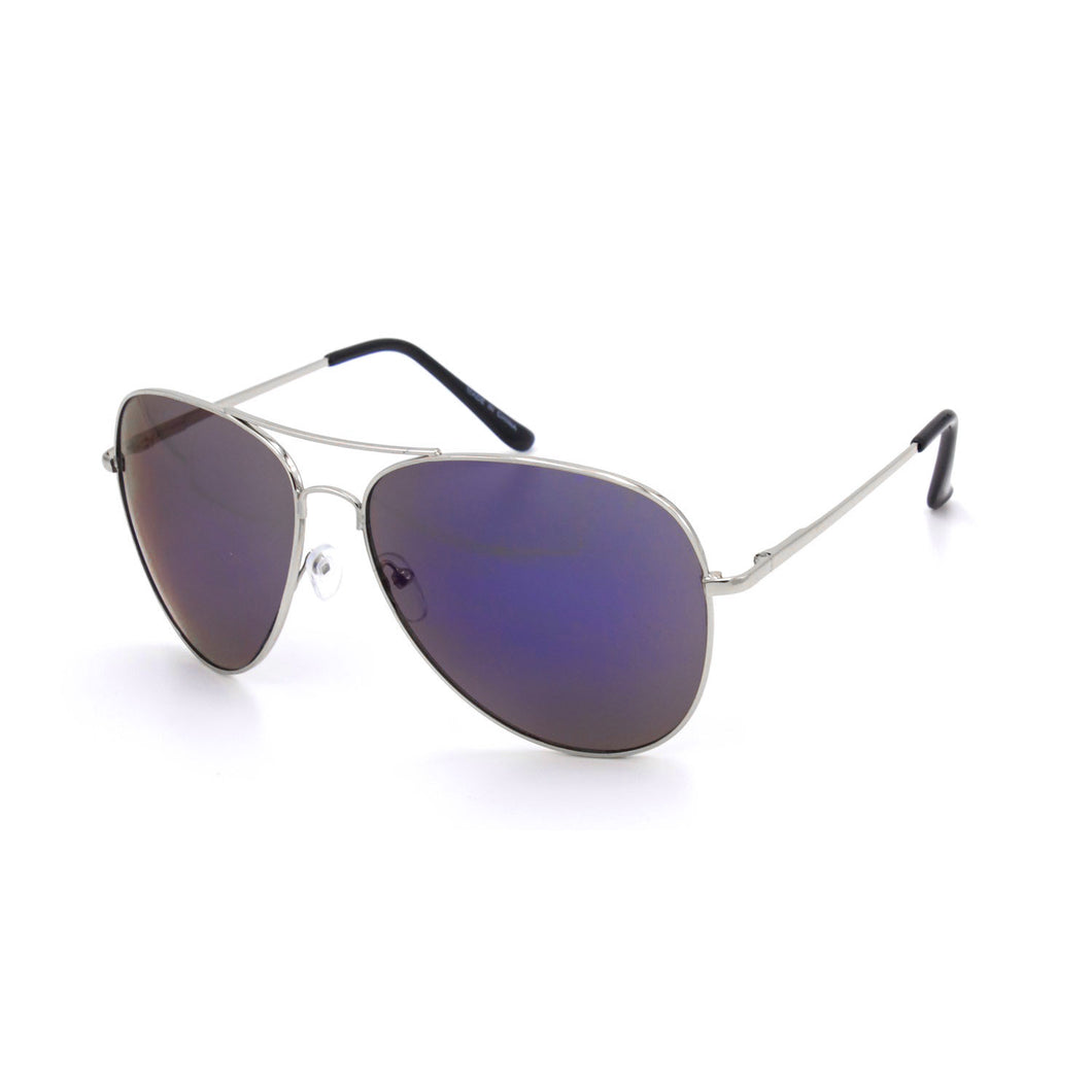 Oversize Aviator Sunglasses - White Frames Blue Lens