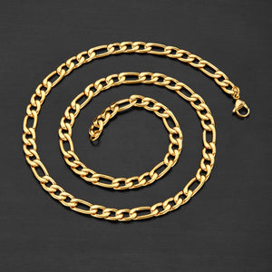 Stainless Steel Figaro Chain Necklace 24 Inches